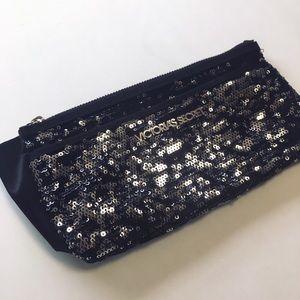 Victoria Secret Black Silver Sequin Wristlet Bag